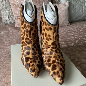 "MARC FISHER ""MIGGILY"" LEOPARD PRINT BOOTIES"